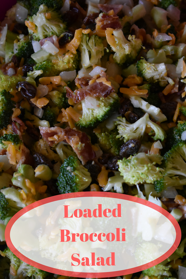 This loaded broccoli salad is a big hit whenever I make it. It is great for cookouts and picnics! #broccolisalad #bacon #cookout #bbq #recipe #realfood #foodie @godschicki